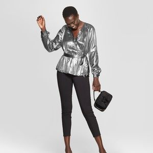 New women's metallic wrap Blouse Silver Small